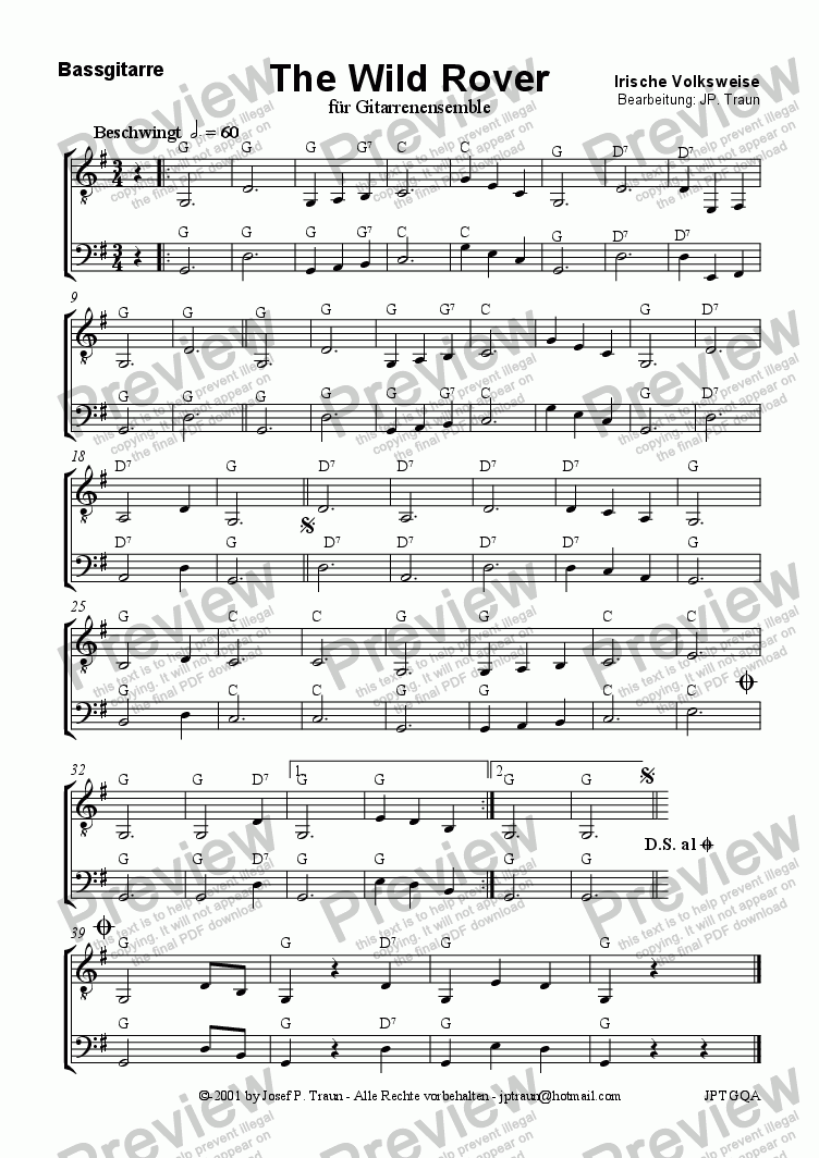 page one of the Bass (GE) part from The Wild Rover (GE/Score & Parts)