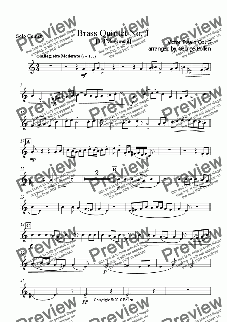 page one of the Solo Cornet part from Brass Quintet No. 1 Op. 3 (3rd Movement)
