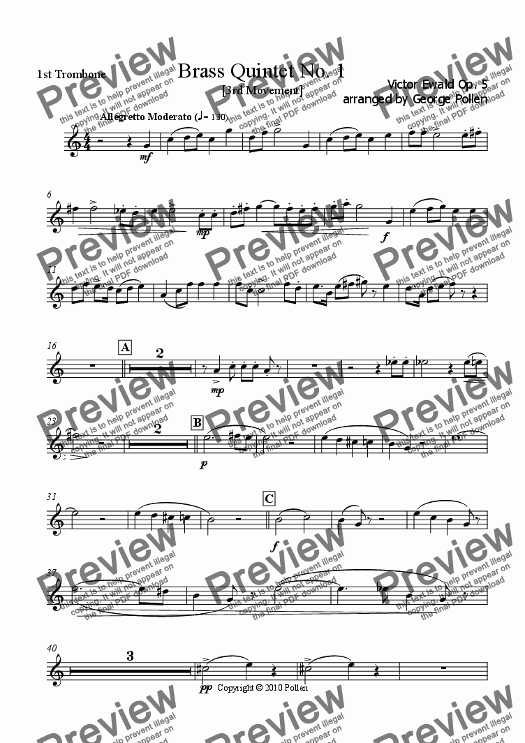 page one of the 1st Trombone part from Brass Quintet No. 1 Op. 3 (3rd Movement)