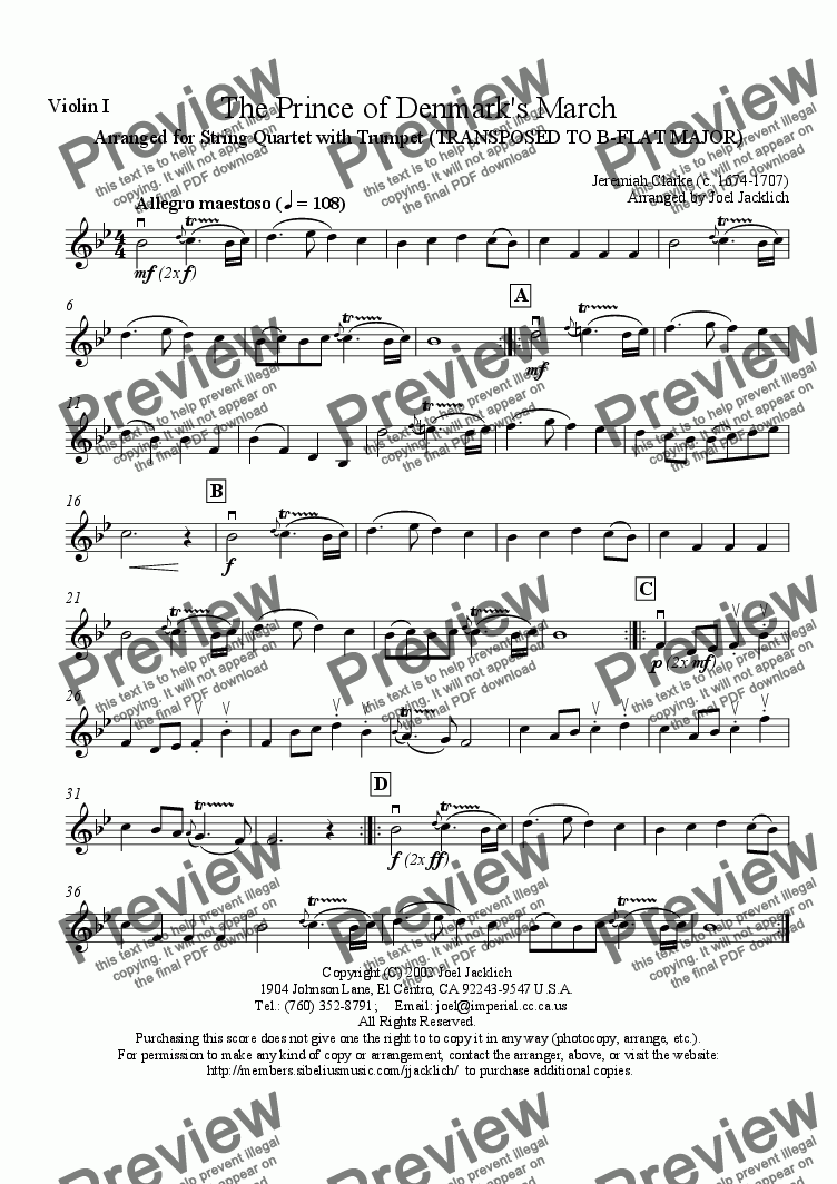 page one of the Violin I part from The Prince of Denmark's March (EASIER KEY [Bb] FOR AMATEUR TRUMPET)