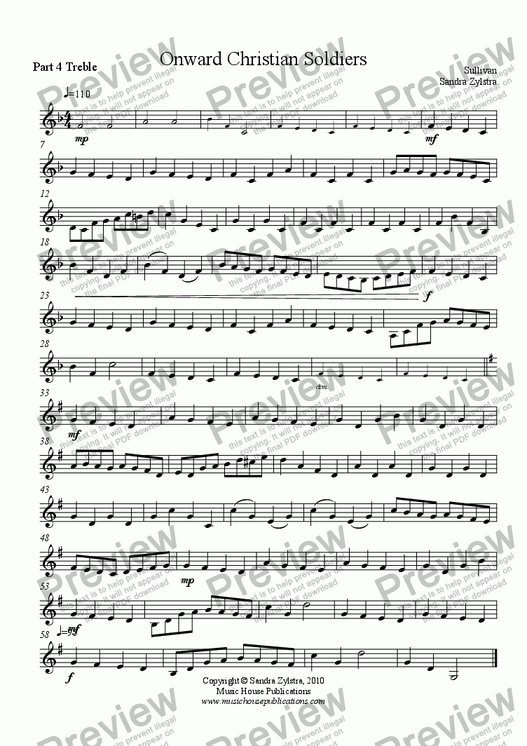 page one of the Part 4 Treble Clef part from Instant Ensemble:  Onward Christian Soldiers