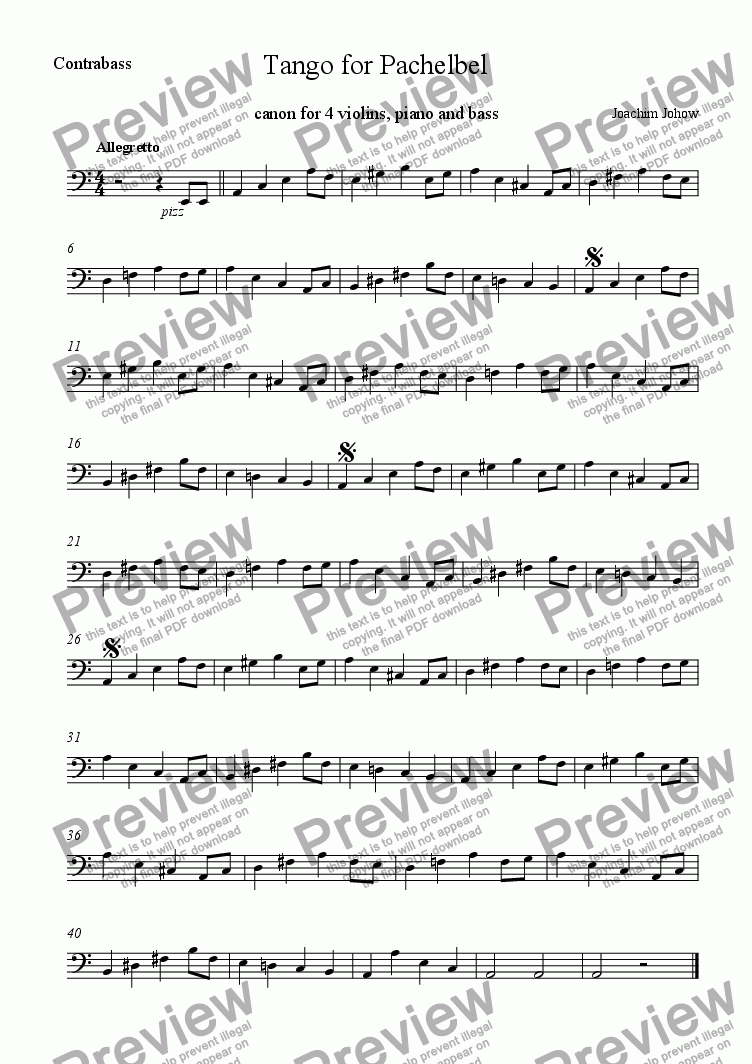 page one of the B part from Tango for Pachelbel (round for 4 violins, piano, bass)