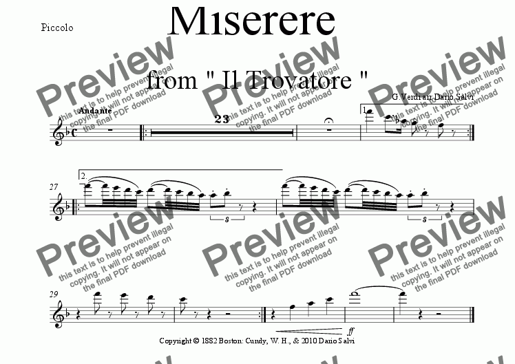 page one of the piccolo part from Miserere from Giuseppe Verdi's Trovatore