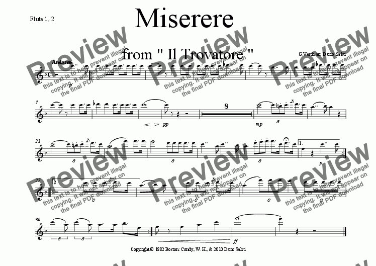 page one of the flute part from Miserere from Giuseppe Verdi's Trovatore