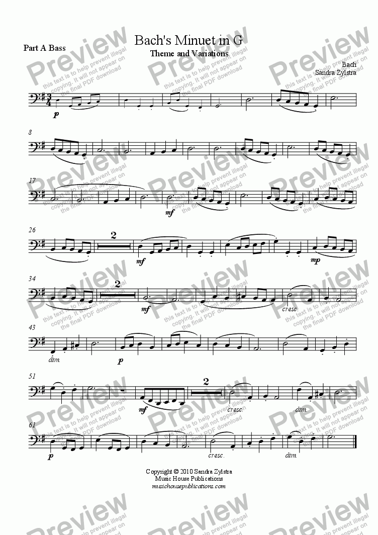 page one of the Bach's Minuet in G - Part A Bass part from Instant Ensemble: Bach's Minuet in G