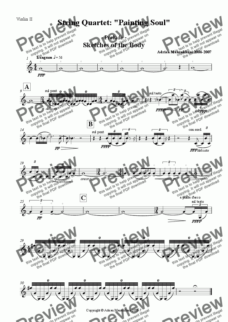 page one of the Violin II part from Painting Soul