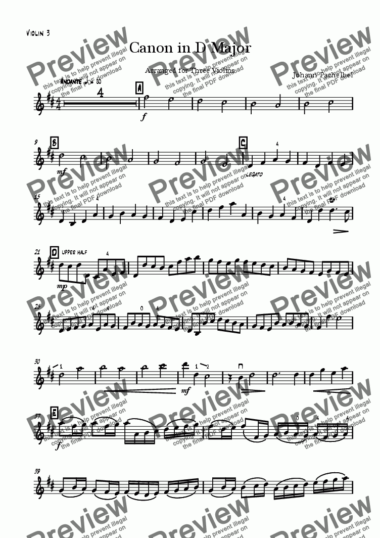 page one of the Violin III part from Canon in D major, for 3 violins