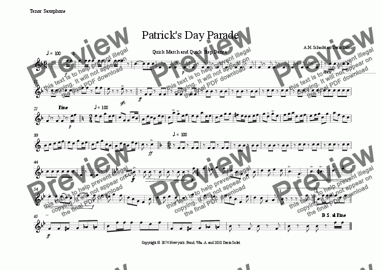 page one of the tenor sax part from St. Patrick's Day Parade Quick March and Quick Step