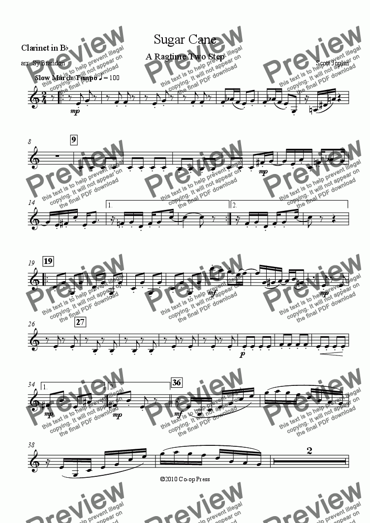 page one of the Clarinet in Bb part from Sugar Cane for Woodwind Quintet