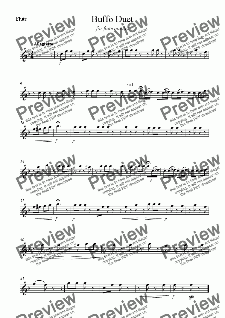 page one of the Flute part from Buffo Duet