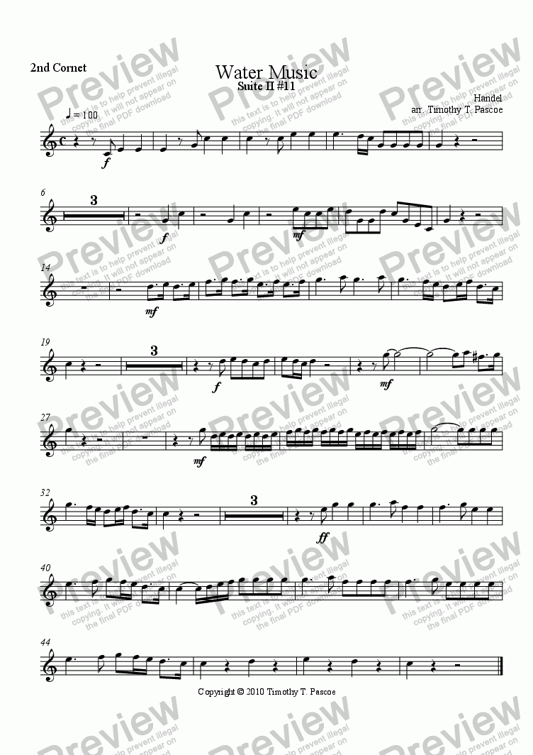 page one of the 2nd Cornet part from Water Music