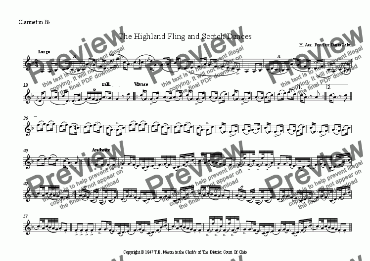page one of the Solo Clarinet part from The Highland Fling and Scotch Dance - solo alto sax or flute or clarinet and small band