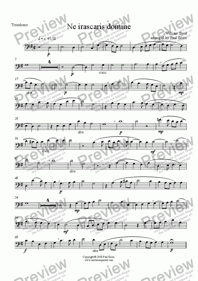 page one of the Trombone part from Ne irascaris domine