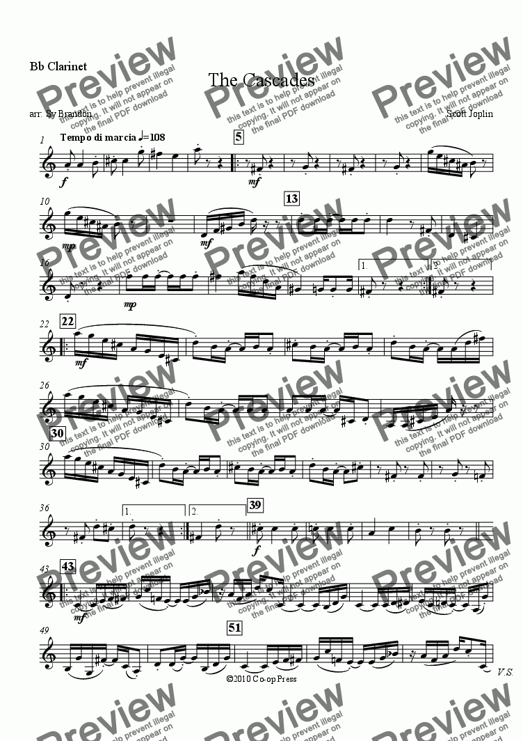 page one of the Clarinet in Bb part from The Cascades for Woodwind Quintet