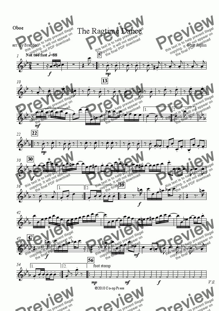 page one of the Oboe part from The Ragtime Dance for Woodwind Quintet