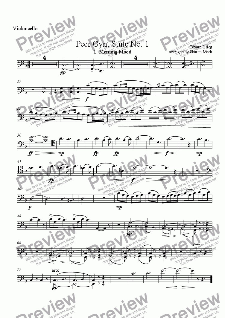 page one of the cello part from Peer Gynt  Suite No. 1:  Morning Mood