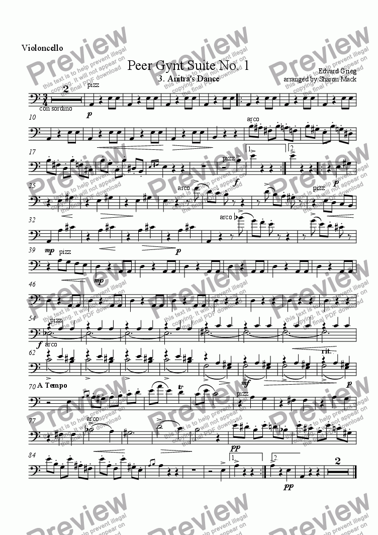 page one of the cello part from Peer Gynt  Suite No. 3. Anitra's Dance