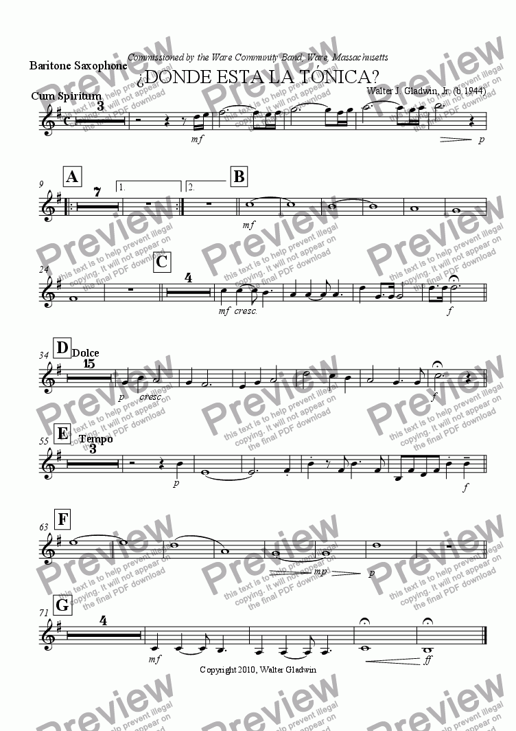 page one of the Baritone Saxophone part from ¿Donde Esta La Tonica?