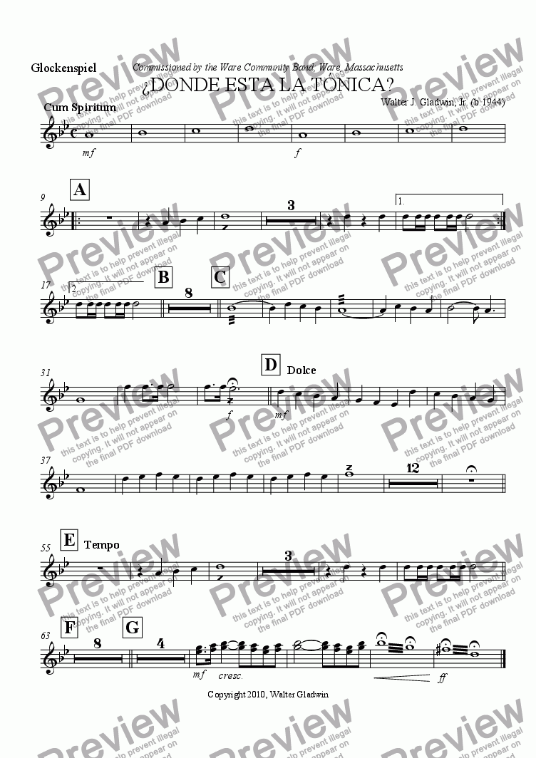 page one of the Glockenspiel (Bells) part from ¿Donde Esta La Tonica?