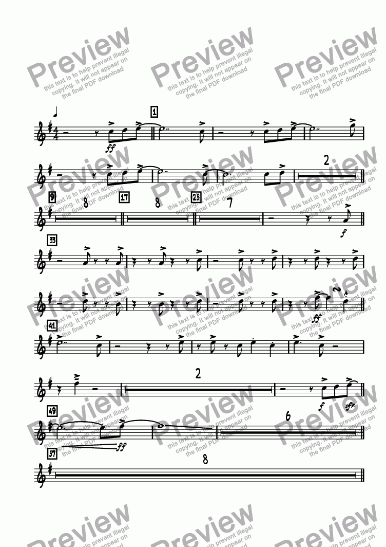 page one of the Trumpet 2 part from Positivity