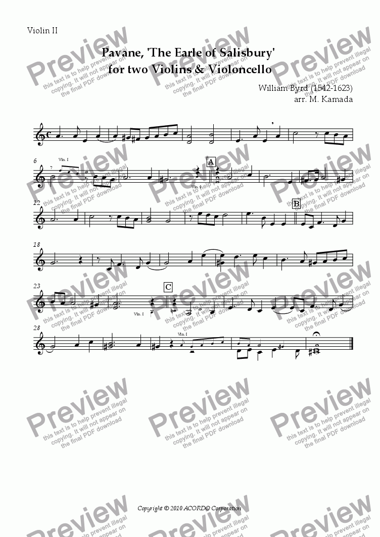 page one of the Violin II part from Pavane, 'The Earle of Salisbury' for two Violins & Violoncello