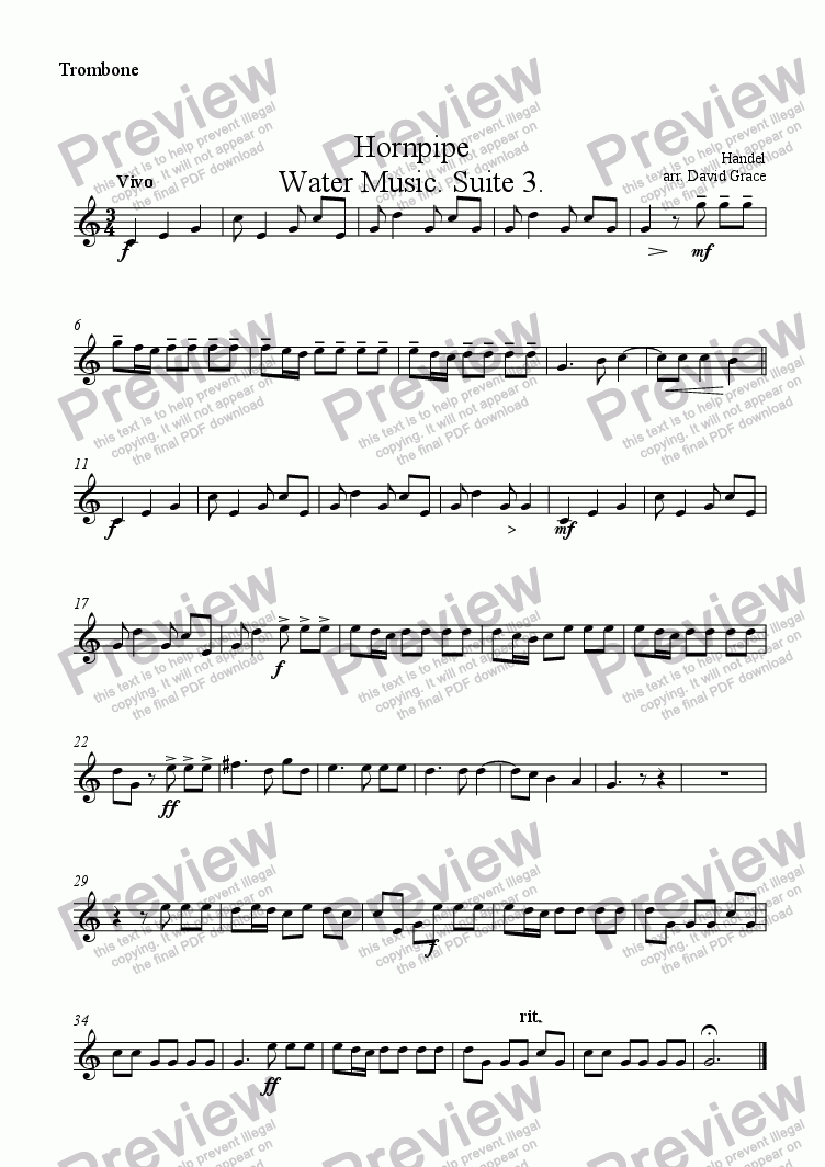 page one of the Trombone part from Hornpipe [Water Music Suite 3]