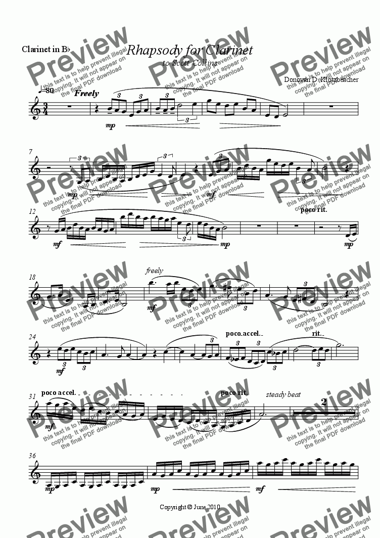page one of the Clarinet part from Rhapsody for Clarinet