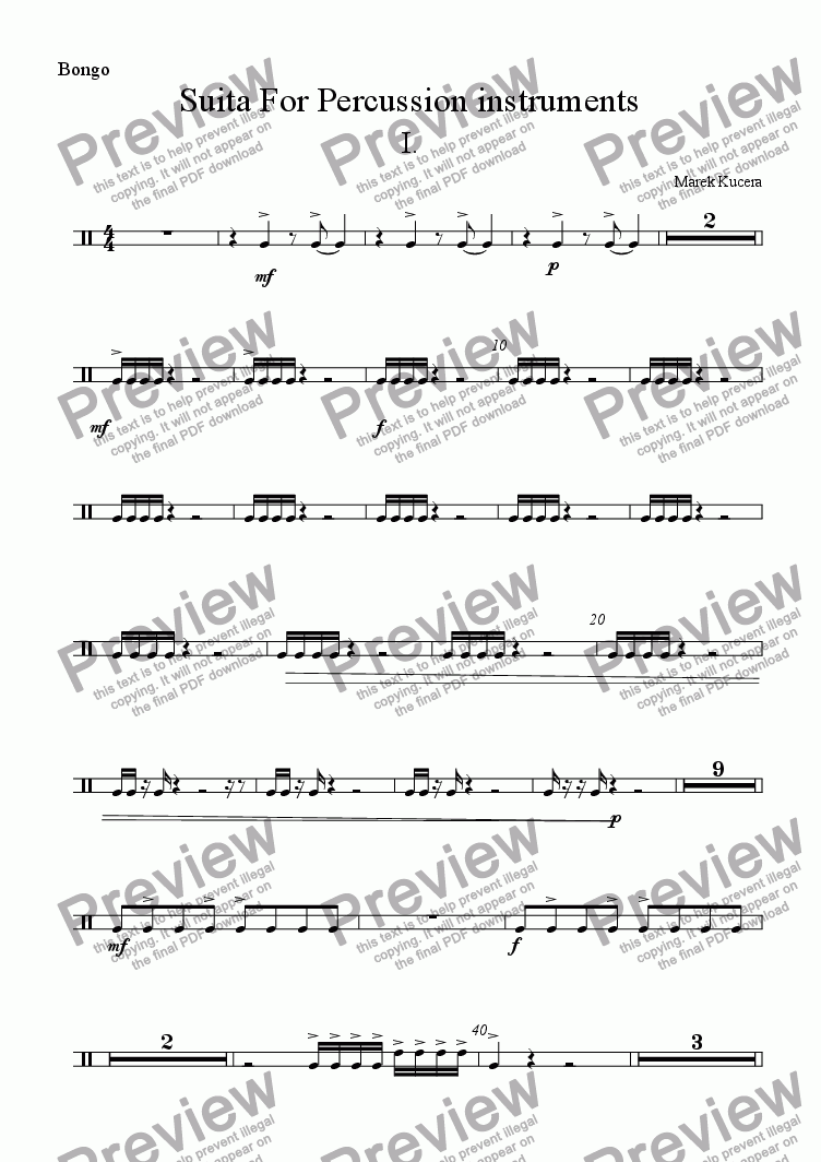 page one of the Bongo part from Suita for percussion instruments