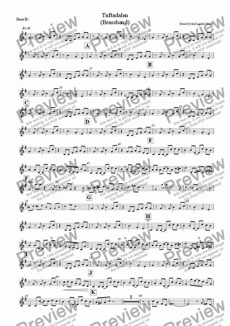 page one of the Bb bass part from Tuftadalen (brassband edition)