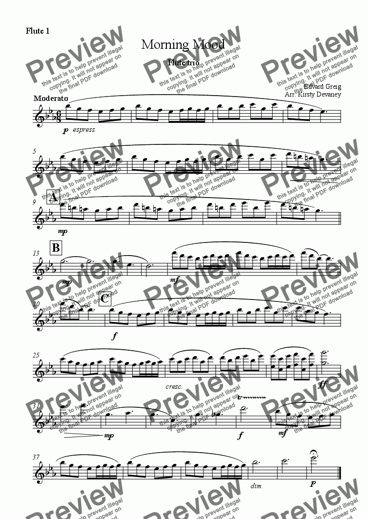 page one of the Flute 1 part from Morning Mood (flute trio)