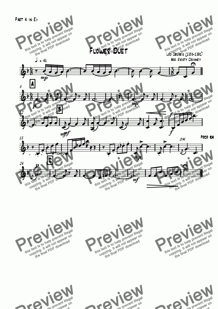 page one of the Part 4 in Eb part from Flower Duet (flexible score)