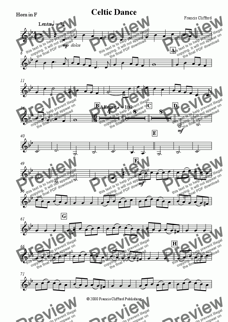 page one of the Horn in F part from Celtic Dance (Brass Quartet)