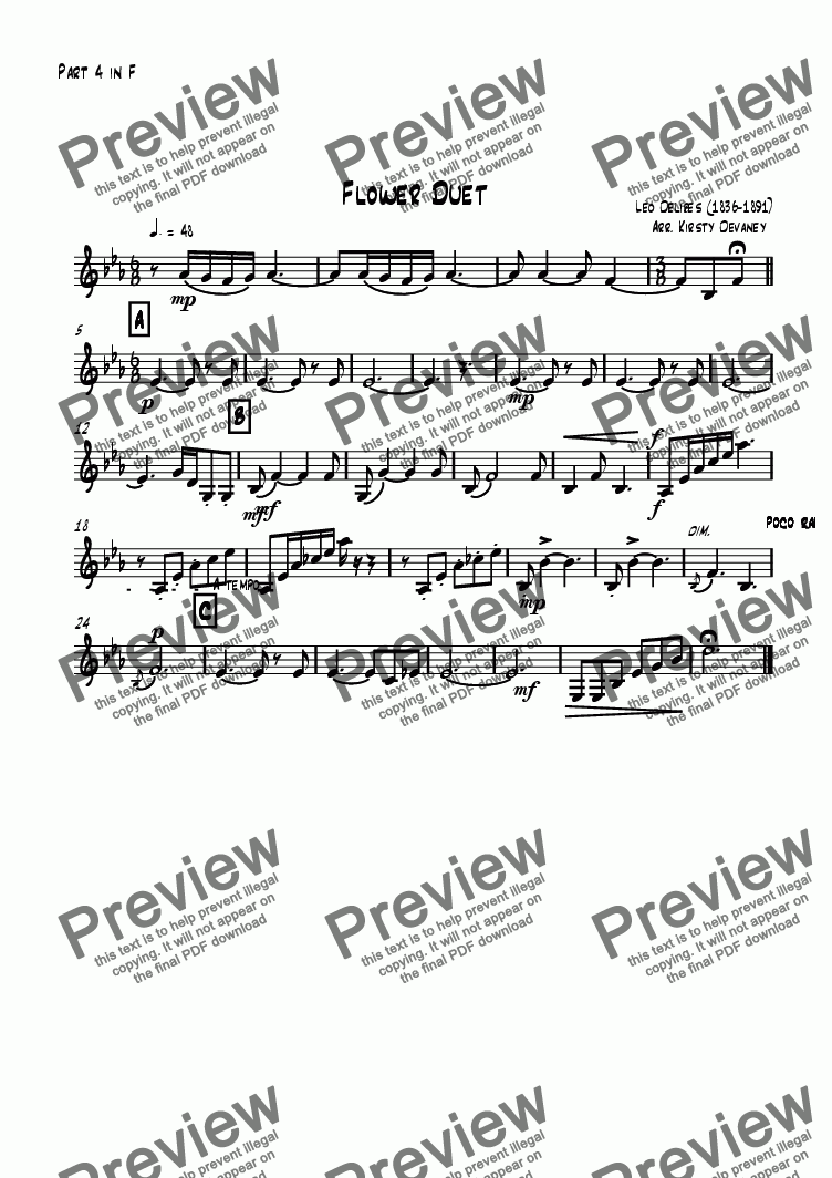 page one of the Part 4 in F part from Flower Duet (flexible score)