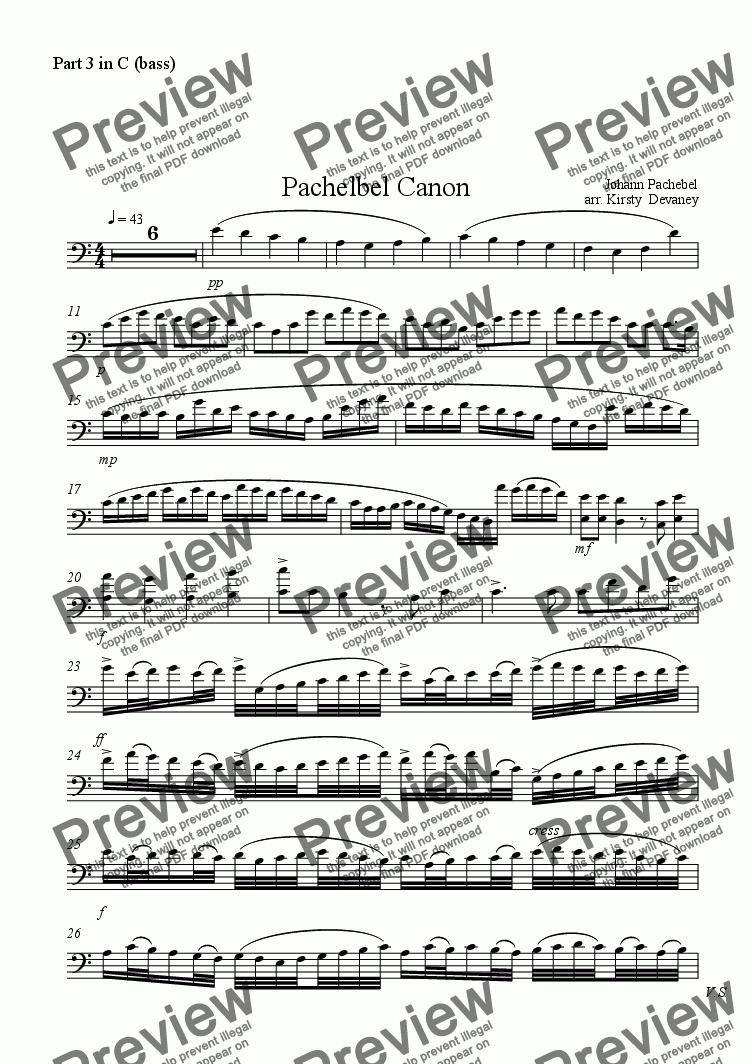 page one of the Part 3 in C (bass) part from Pachelbel's Canon (fexible score)