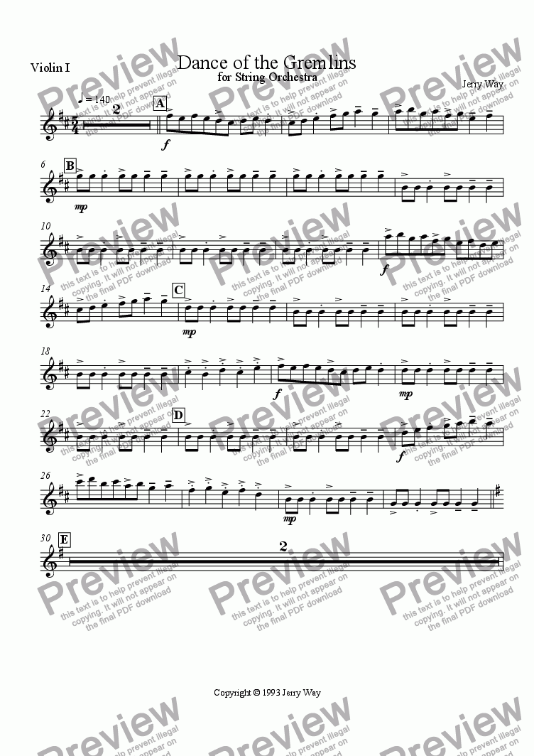 page one of the Violin 1 part from Dance of the Gremlins for String Orchestra