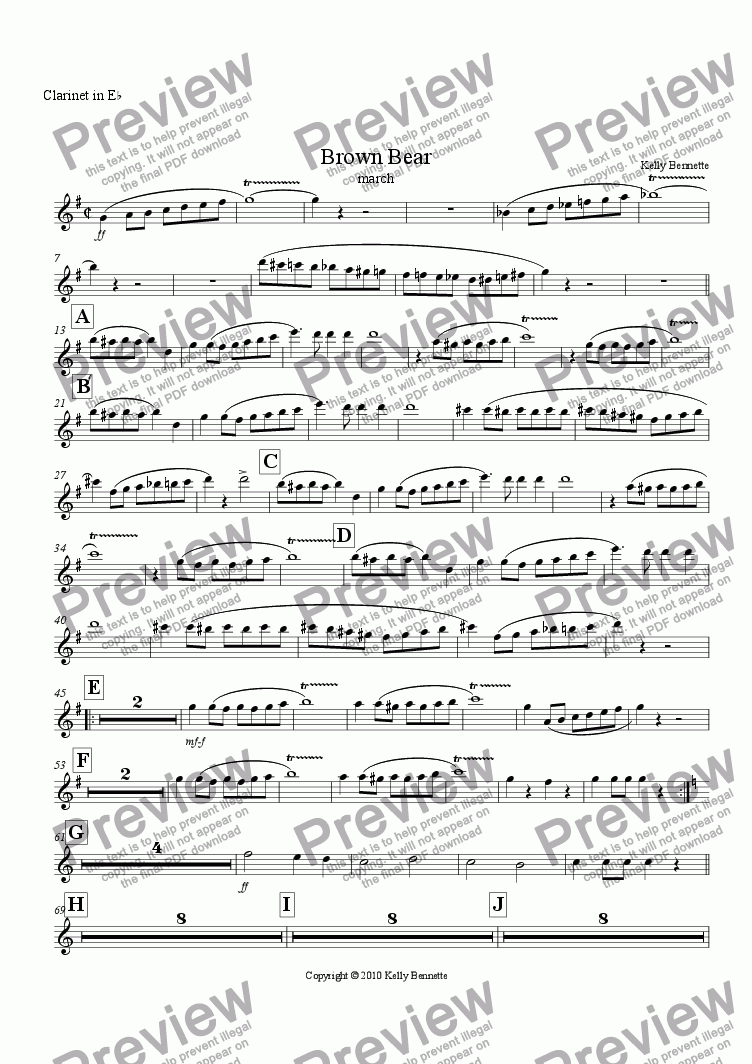 page one of the Eb clarinet part from Brown Bear march