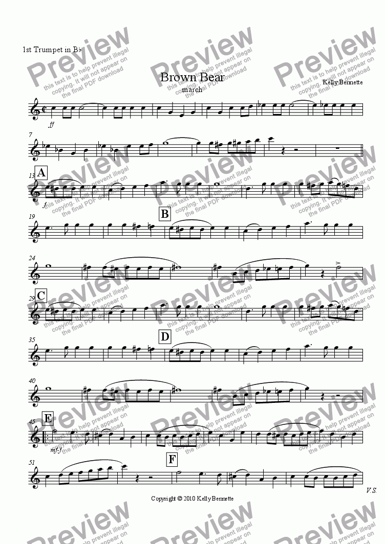 page one of the trumpet 1 part from Brown Bear march