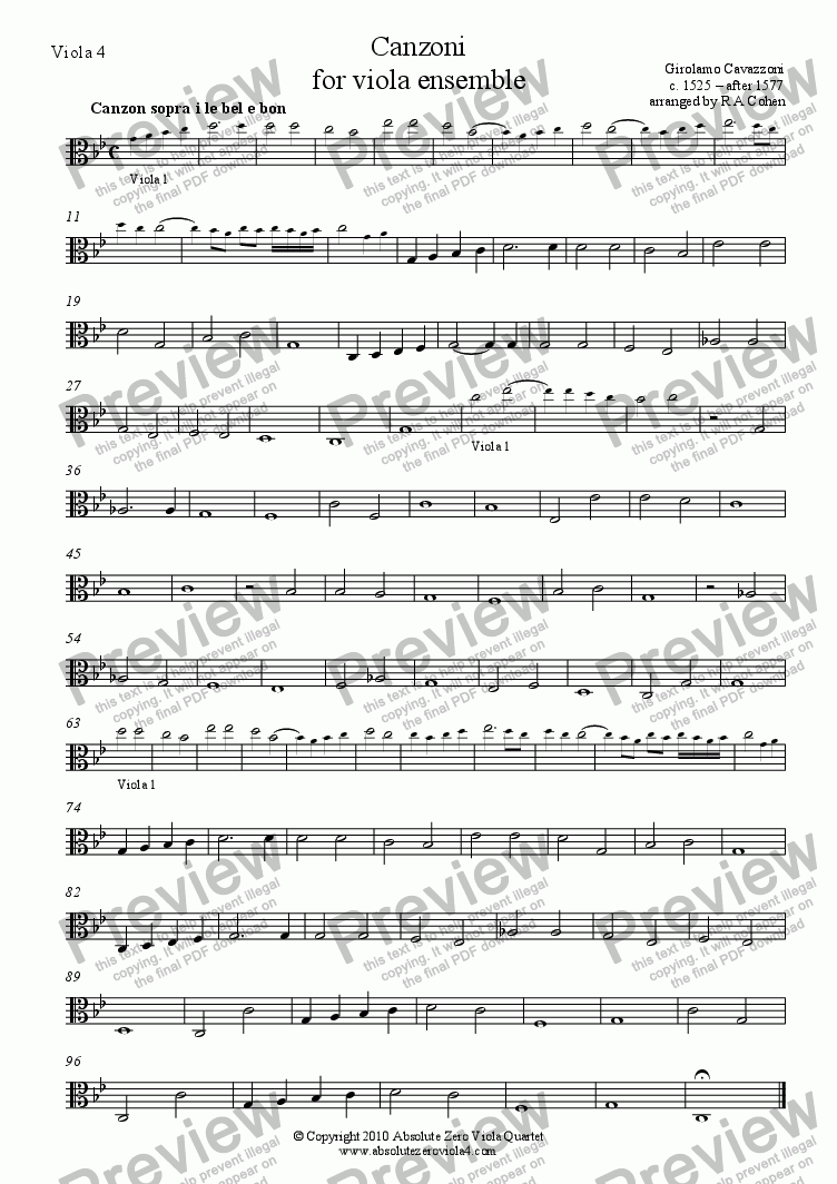 page one of the Viola 4 part from Cavazzoni - CANZONI - for viola ensemble