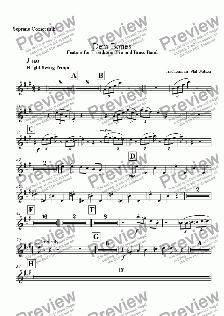 page one of the Soprano Cornet part from Dem Bones - feature for trombone trio and brass band