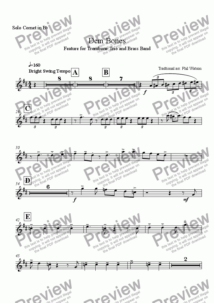 page one of the Solo Cornet part from Dem Bones - feature for trombone trio and brass band