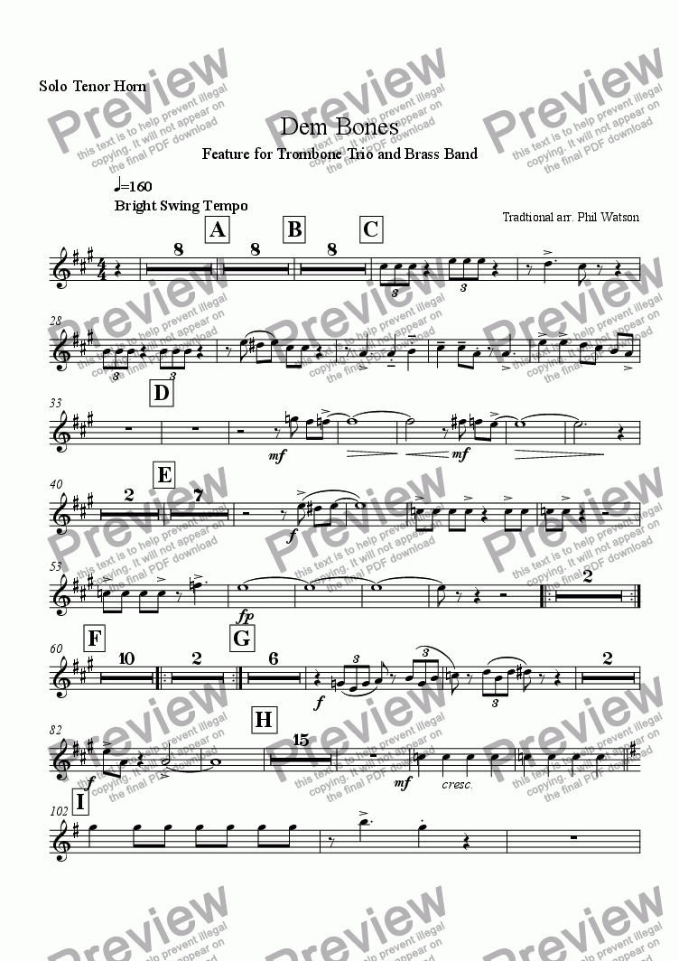 page one of the Solo Tenor Horn part from Dem Bones - feature for trombone trio and brass band