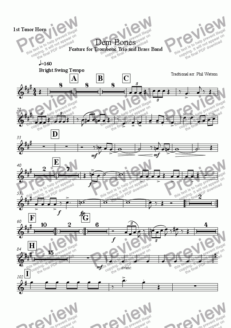 page one of the 1st Tenor Horn part from Dem Bones - feature for trombone trio and brass band