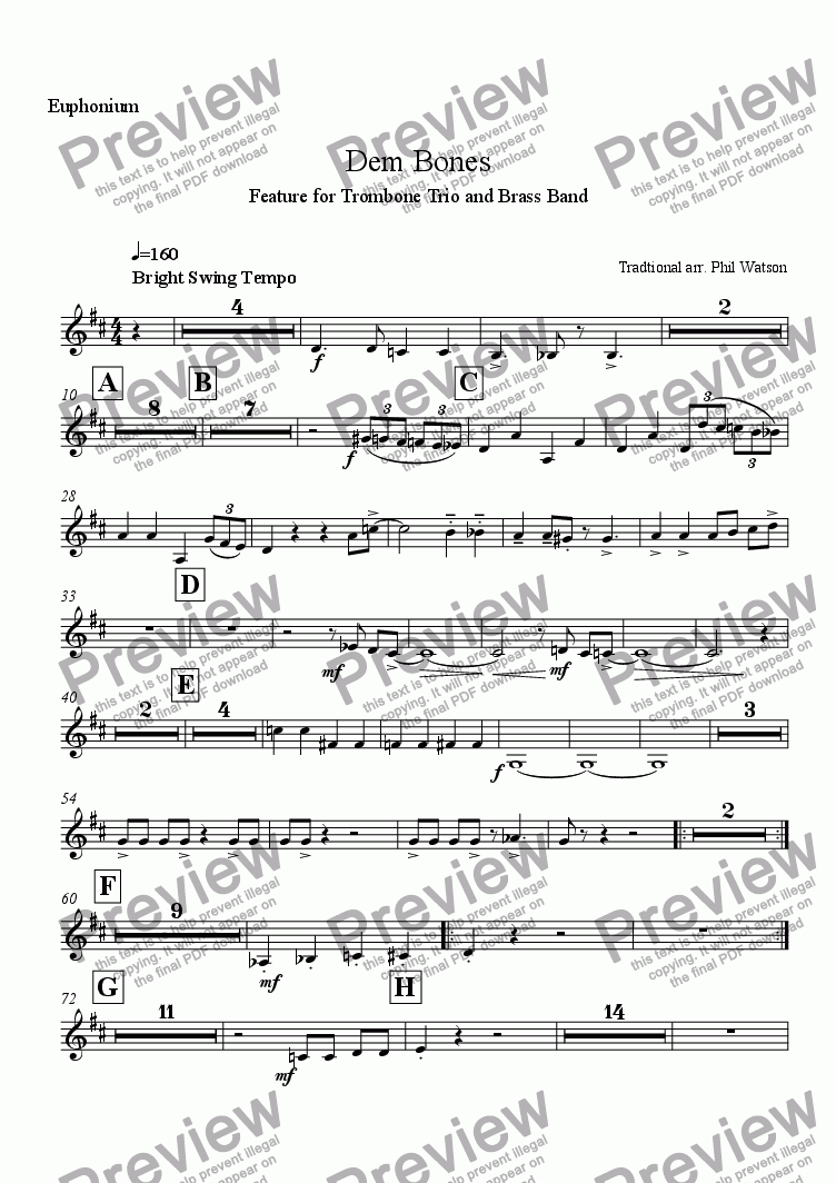 page one of the Euphonium part from Dem Bones - feature for trombone trio and brass band