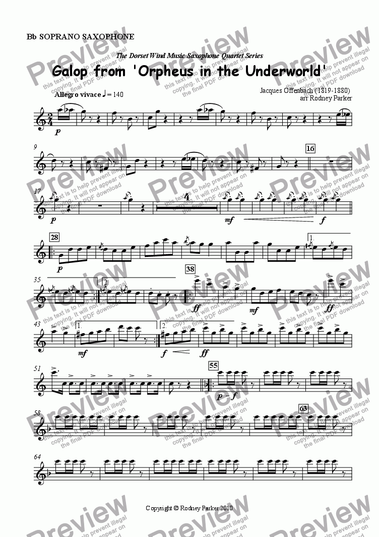 page one of the Soprano Sax part from 'Galop' from Orpheus in the Underworld arr. for Sax Quartet