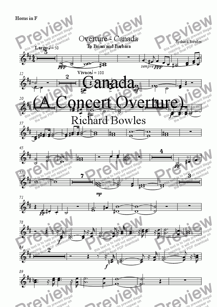 page one of the Horn in F part from Canada - A Concert Overture