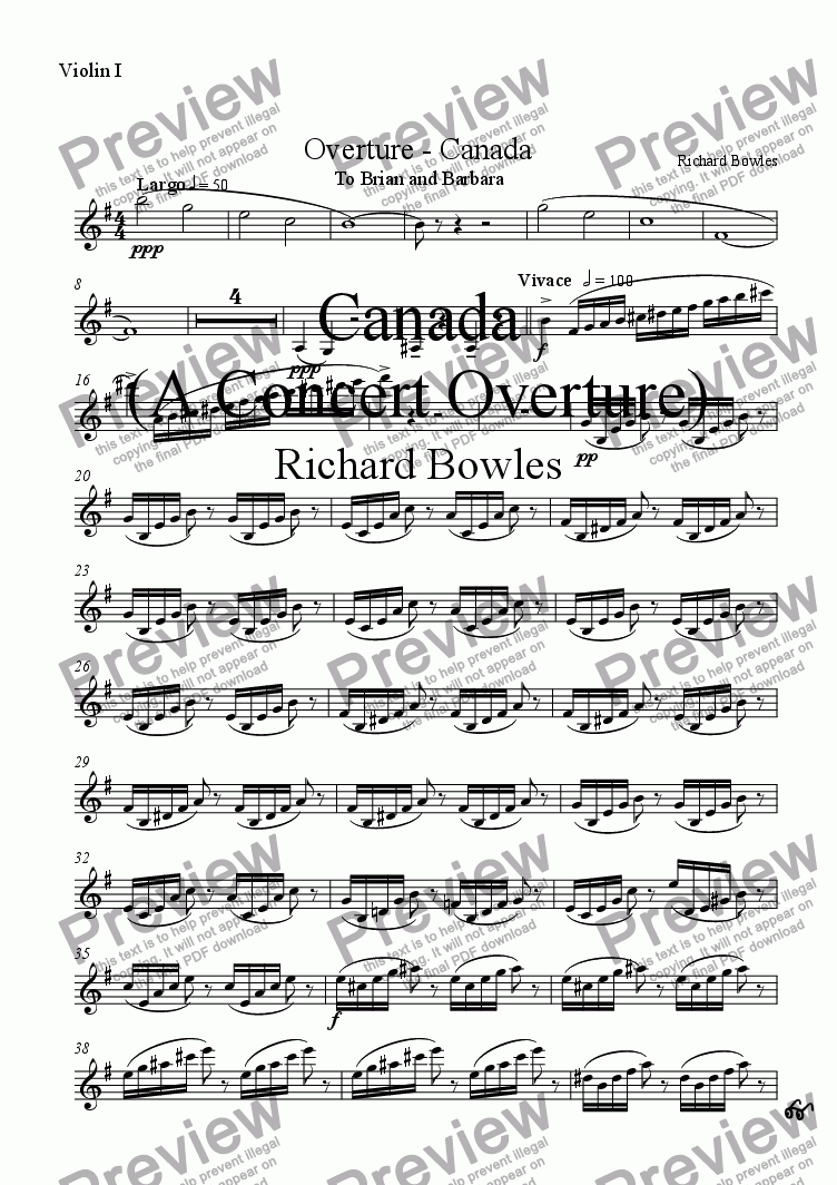 page one of the Violin I part from Canada - A Concert Overture