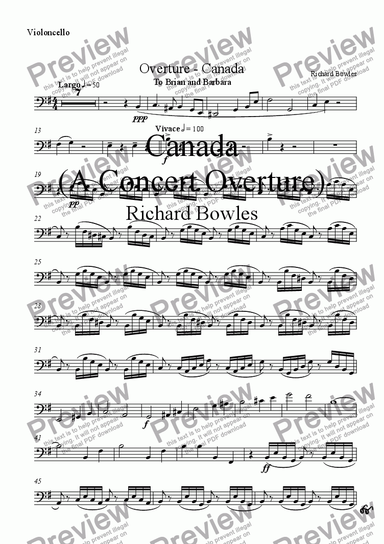 page one of the Violincello part from Canada - A Concert Overture