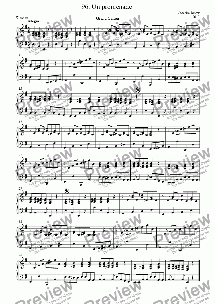 page one of the Piano part from Grand Canon 96 (Un promenade)