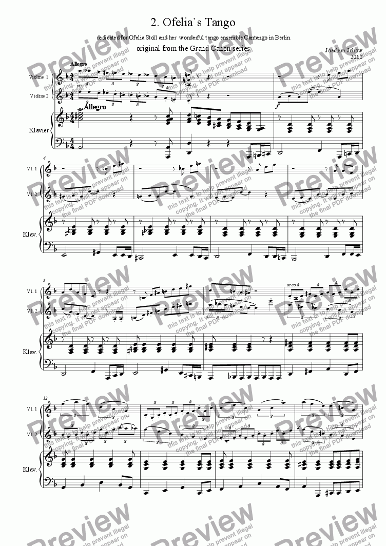 page one of the piano 1/2 Vl part from Tango 02 (Ofelia`s Tango)