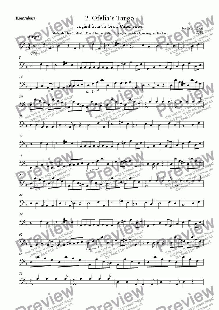 page one of the bass part from Tango 02 (Ofelia`s Tango)